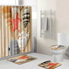 Home Bathroom Shower Curtain Toilet Seat Lid Cover Foot Mat & Bath Rug Set Ocean Bathroom, Bathroom Shower Curtains, Bathroom Sets, Toilet Mat, Shower Liner, Colorful Curtains, Curtains With Blinds, Rugs Online, Rugs On Carpet