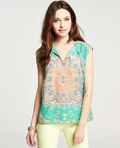 Ann Taylor - AT New Arrivals - Exotic Paisley Print Popover Top