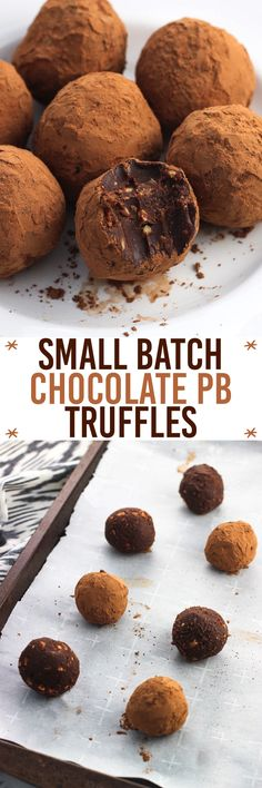 These small batch chocolate peanut butter truffles are rich, indulgent, and simple. This recipe makes just seven truffles and is great for holiday desserts!