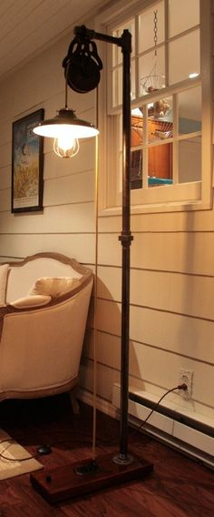 Custom Made Vintage Industrial Floor Lamp - Dark