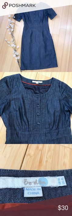 BODEN denim chambray dress, 4L. Boden beautiful denim chambray dress size 4L. Excellent condition. Bust is 18.5 inches, waist is 15 inches, length is 39 inches, side zipper for convenience. Really cute basic dress with which to add your own pops of color! Boden Dresses Midi