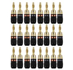 Soundsoul Quicklock 24k Gold Banana Connectors for Easy Self Crimping Terminations 12-pairs. 12 pairs Color. Soundsoul.