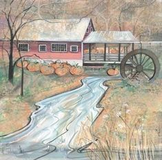 Signed and numbered, limited edition art print by American artist P Buckley Moss at Canada Goose Gallery in Waynesville, Ohio. Clifton Mill, Waynesville Ohio, Ohio State Parks, Art Loft, Moss Art, Thomas Kinkade, Fall Pictures, Autumn Art, American Artists