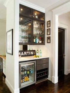 Decorations:The Importance Of Furniture In Designing Small Bar For Home Attractive Small Home Bar Decoration Wine Cooler Fridge Brown Laminate Wood Floor Hanging Glass Shelves White Gloss Countertop