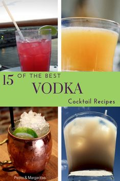 Vodka is one of my favourite drinks and works perfectly with coke and ice. But it also works really well in cocktail recipes and includes some of the most famous like the White Russian and the Moscow Mule. Check out these 15 vodka cocktail recipes! Best Vodka Cocktails, Vodka Mixed Drinks, The Best Vodka, Easy Cocktails, Cocktail Drinks, Flavored Vodka Drinks, Cocktail Recipes With Vodka, Easy Vodka Drinks, Popular Cocktails