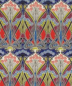 Ianthe print from the Liberty Art Fabrics collection. Created by French Art Nouveau designer, R. Beauclair, around 1900, the Ianthe design was first printed for Liberty in 1967. It is a typical example of French Art Nouveau with highly stylised flowers created in swirls and of the renewed interest in this design style in the Sixties.  The Art Nouveau style was revived in the 1960s following major exhibitions in New York (Art Nouveau. Art and Design at the Turn of the Century, MoMA, 1959)…