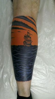 I started the ship on my right shin and its only half done. AFI Black Sails in the Sunset album cover
