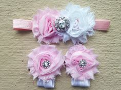 Pink and White Rhinestone Baby Barefoot Sandals and Headband Set - Baby Girl Accessories - 1st Birthday Phot Props on Etsy, $12.95