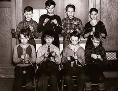Pay it forward and teach your kids how to knit, crochet, sew and volunteer for great causes. 1943-ww2-knitting-boys