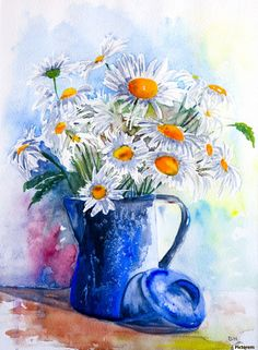 Daisies in a Blue Jug  , Hammond Fine Art , jug, background, daisy, spring, nature, summer, fresh, white, beautiful, flower, decorative, flowers, bouquet, yellow, ceramic, bunch, wooden, vintage, rustic, table, chamomile, home, copy space, floral, decoration, clay, old, daisies, joyful, petals, board, relaxing, vase, cut, design, food, blooming, china, green, blue, tenderness, soft focus, sentimental, blossom, romantic, homemade, glass, scratched, wild, house