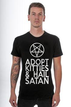 *NEW* Adopt Kitties & Hail Satan Tee