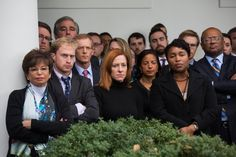 White House staff members listen to President Obama speak about Republican presidential nominee Donald Trump's victory over Democratic candidate Hillary Clinton for the presidency in the Rose Garden of the White House on Nov. 9.