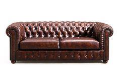 Canapé Chesterfield en cuir marron vintage Rose & Moore de face WBP-1054