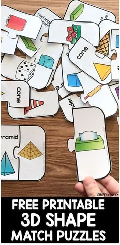 math in the real world Free Printable Shape Puzzles - Simply Kinder Free Printable Shape Puzzles that are perfect for Kindergarten and first grade math centers Shape Activities Kindergarten, 3d Shapes Activities, 3d Shapes Worksheets, Learning Shapes, First Grade Activities, Kindergarten Centers, Sensory Activities, Learning Centers, Learning Spanish