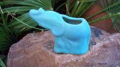 Van Briggle Pottery Elephant  Pachyderm  Figurine  Ming Blue Colorado Springs Elephant Vase