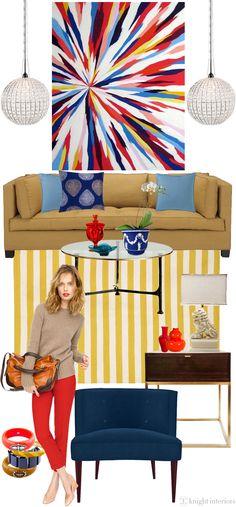 "(My nephews painting !! )J. Crew fall collection-inspired living room. Painting is titled Pasion, 2010 by Lee Clarke via Ugallery - oil on canvas, 52"" w x 66"" h. Narnia Iron and Glass Cocktail Table via Clayton Gray, Todd Hase Duval Side Table via ABC Home, petite vases via Furbish Studio"
