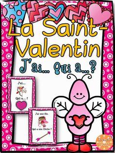 """Jeu """"j'ai... qui a...?"""" pour pratiquer le vocabulaire de la Saint-Valentin. Idéal en grand groupe ou dans les centres de littératie."""