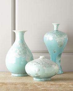 John-Richard CollectionThree Swirling Leaves Aqua Vases