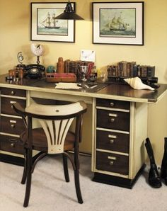 Captains Desk| Ivory Color Nautical Desk - Nautical Office - Nautical Desk - Captains Desk, Ivory