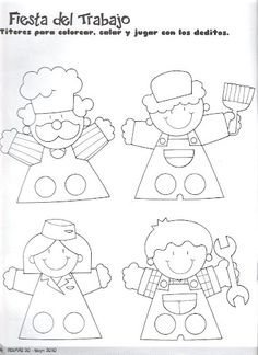 titeres_de_dedo Puppet Patterns, Felt Patterns, Puppets For Kids, Felt Finger Puppets, Paper Puppets, Operation Christmas Child, Paper Crafts For Kids, Felt Toys, Paper Dolls