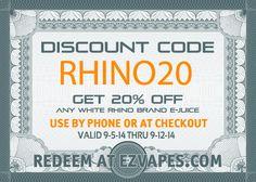 Take 20% off #White #Rhino #ejuice with #couponcode #RHINO20  #vape #vapelife #eliquid