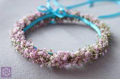 Różowy wianek dla słodkiej małej Księżniczki - ARTEMI - dekoracje ślubne, wianek ślubny, opaska kwiatowa, dekoracje ślubne, florystyka