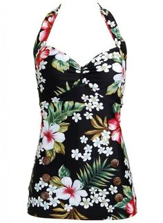 Aloha! Floral Hawaiian Retro Pin up Rockabilly Womens Bathing Suit Swimsuit Swimwear - X-Small: Clothing