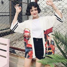 Vintage Summer Printed Chiffon Sunscreen Harajuku Kimono Cardigan Outerwear Blouse Japanese Style Women Clothing