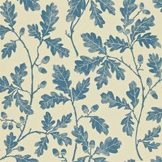 Oakwood Wallpaper A beautiful wallpaper with a design of oak leaves printed in indigo on a beige ground. The design originated as a lino print created by carving the pattern onto lino which was then inked with a roller and impressed onto paper. Print Wallpaper, Home Wallpaper, Fabric Wallpaper, Wallpaper Ideas, Decoupage, Made To Measure Curtains, Oak Leaves, Leaf Prints, Designer Wallpaper