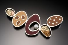 Umber Brooch by Susan Kinzig: Silver and Polymer Clay Brooch available at www.artfulhome.com
