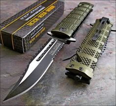 TAC FORCE Army Green Spring Assisted Open SAWBACK BOWIE Tactical Rescue Pocket Knife (Limited Edition) -- Find out more about the great product at the affiliate link Amazon.com on image.