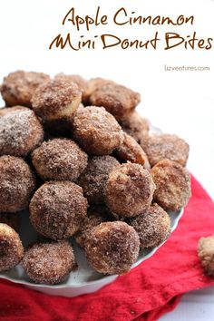 Apple Cinnamon Mini Donut Bites These mini doughnuts are bursting with fresh apple flavor and a butter cinnamon crumble topping.