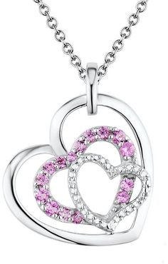 Two Hearts Forever One Lab-Created Pink Sapphire & Diamond Accent Sterling Silver Triple Heart Pendant Necklace for Valentine's Day   https://api.shopstyle.com/action/apiVisitRetailer?id=461935601&pid=uid2500-37484350-28