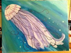 """Floating Through Life"" Jellyfish Acrylic painting on canvas"