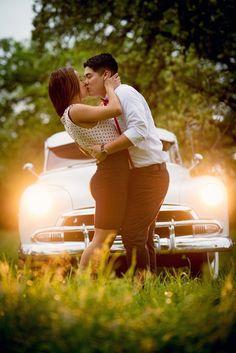 Romantic shoot- Engagement Pics... with classic car
