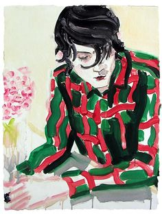 Elizabeth Peyton,Nick, (in red and green), 2002 Monotype with handpainting on Twinrocker handmade  paper