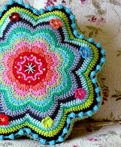 colorful crochet pillow