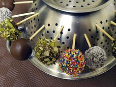 Use your colander as a cake pop drying stand.  Perfect for when you're having a party!