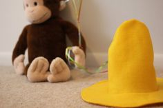 Tutorial in how to make the Man with Yellow Hat's hat.  Max's Halloween costume.