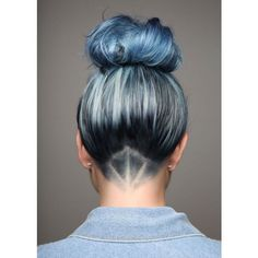 If You Think Denim Hair Looks Cool From The Front, Wait Until You See... ❤ liked on Polyvore featuring hair and hairstyle