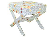 Lily Ikat Stool, Mist Gray on OneKingsLane.com