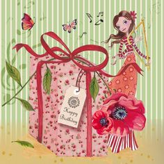 Illustrations Greeting Cards 2013 by Cartita Design, via Behance Happy Birthday Flower, Birthday Pins, Happy Birthday Girls, Art Birthday, Happy Birthday Quotes, Happy Birthday Images, Happy Birthday Greetings, Birthday Messages, Birthday Greeting Cards