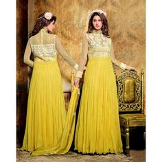 Designer Yellow Embroidered Soft Net Anarkali Suit - 15499 ( ML-906 )