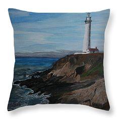 "Pigeon Lighthouse Daytime Titrad Throw Pillow 14"" x 14"""