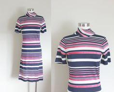 1960s Striped Turtleneck Scooter Dress // Medium by missheyday