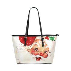 A cute vintage Santa Claus with a mistletoe Leather Tote Bag/Large (Model Vintage Santa Claus, Vintage Santas, Mistletoe, Large Bags, Tote Bag, Cute, Model, Leather, Big Bags