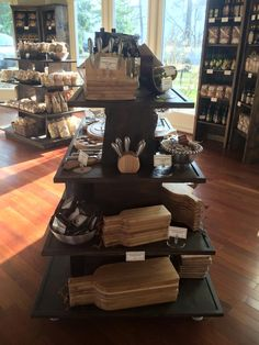 Gourmet rustic wood retail store fixture gondola ideas. Awesome gondola display! Custom staining available. http://jbrothersandcompany.com