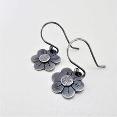Silver Drop Earrings, Cute Earrings, Flower Earrings, Dangle Earrings, Sterling Silver Flowers, Minimalist Earrings, Earring Backs, Modern Jewelry, Hippie Boho