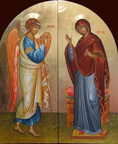 Свето Благовещение / The Annunciation by Mario Milev Religious Icons, Religious Art, Church Icon, San Gabriel, Life Of Christ, Byzantine Icons, Madonna And Child, Orthodox Icons, Virgin Mary