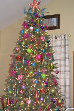 Christmas Tree With Pink Purple Lime Green Blue And Red